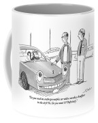 A Car Salesman Gives A Pitch To A Prospective Coffee Mug