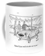 A Car Salesman Shows A Couple A Car Monster Coffee Mug