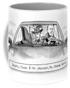 A Car With The Grim Reaper Coffee Mug