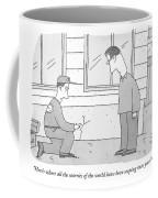 A Carpenter Examines A Crack On The Base Coffee Mug