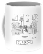 A Cat With A Cape Is Seen Sleeping And Levitating Coffee Mug