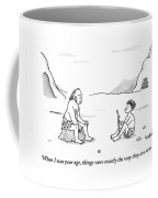 A Cave Dweller Speaks To His Son Who Is Holding Coffee Mug by Robert Leighton