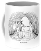 A Cave Father And Mother Talk To Their Daughter Coffee Mug