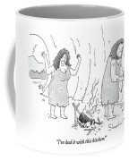 A Cavewoman Raises Her Arms In Anger Coffee Mug