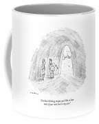 A Cavewoman Talks To A Caveman Who Is Leaving Coffee Mug