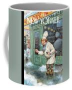 A Chef Lightly Pinches Salt On The Sidewalk Coffee Mug