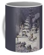 A Cherub Wields An Axe As They Chop Down A Christmas Tree Coffee Mug
