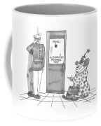 A Clown Is Seen Walking Into A Door Which Says Coffee Mug