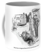 A Cop And A Detective Stand Over The Face-down Coffee Mug
