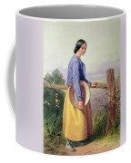 A Country Girl Standing By A Fence Coffee Mug