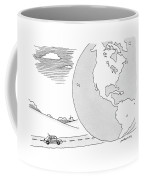 A Couple Drives Towards A Giant Earth Coffee Mug