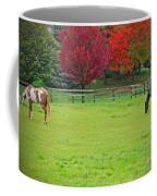 A Couple Horses And Beautiful Autumn Trees Coffee Mug