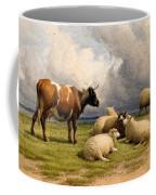 A Cow And Five Sheep Coffee Mug