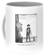 A Cowboy With A Dog Speaks To His Opponent Coffee Mug