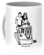 A Cyclist Says To A Jogger. They Are Both Coffee Mug