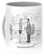 A Dirty-looking Beggar Tries To Pick Coffee Mug