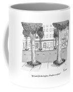 A Disgruntled Tree Looks At The Small Fence Coffee Mug by Zachary Kanin