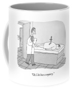A Doctor Enters An Examination Room Where Coffee Mug