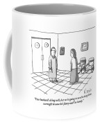 A Doctor Is Seen Talking To A Woman Coffee Mug by Zachary Kanin
