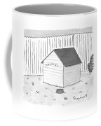 A Dog House With No Doors Is Seen With The Sign Coffee Mug