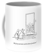 A Dog Speaks To Another Dog In Front Of A Closed Coffee Mug