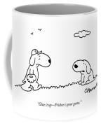 A Dog Talks To Another Dog Wearing Baseball Gear Coffee Mug