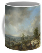 A Dune Landscape With A River And Many Figures Coffee Mug