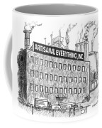 A Factory Stands With The Label Artisanal Coffee Mug