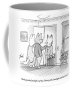 A Family Of Three Cats In A House Coffee Mug