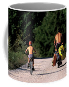 A Father And Son Ride Their Bikes To Go Coffee Mug