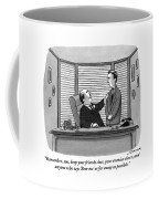 A Father Behind A Desk Addresses His Grown Up Son Coffee Mug