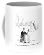 A Father Encourages His Son At The Playground Coffee Mug by Emily Flake