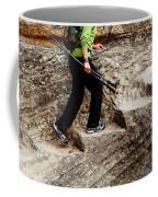 A Female Hiker Walking Up Steps Chopped Coffee Mug