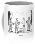 A Fireman In His Boxers Talks To His Colleagues Coffee Mug