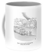 A Fireman Talks To A Family While Their House Coffee Mug
