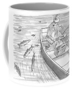 A Fisherman On A Rowboat Looks At The Fish Coffee Mug