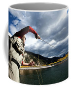 A Fly Fisher Casting His Line Coffee Mug