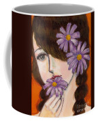 A Girl With Daisies Coffee Mug