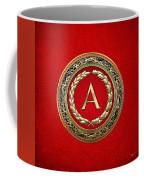 A - Gold Vintage Monogram On Red Leather Coffee Mug