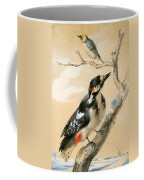 A Great Spotted Woodpecked And Another Small Bird Coffee Mug