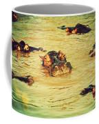 A Group Of Hippos In A River. Tanzania Coffee Mug