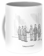 A Group Of People In A Boardroom Watch As Two Men Coffee Mug by Paul Noth