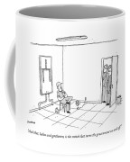 A Group Peeks In At A Room Where A Worker Stands Coffee Mug