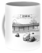 A Guy Is Driving Around A Zen Garden Making Coffee Mug by Pat Byrnes