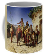A Gypsy Family On The Road, C.1861 Oil On Canvas Coffee Mug