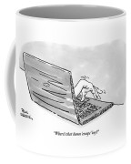 A Hand Reaches Out From Laptop Screen Coffee Mug