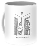 A Handyman Looks Up At A Pull-string Light Bulb Coffee Mug
