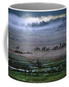 A Heard Of Elk Graze In A Misty Meadow Coffee Mug