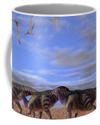 A Herd Of Parasaurolophus Dinosaurs Coffee Mug by Corey Ford