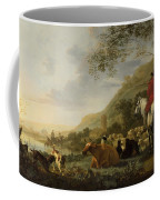 A Hilly Landscape With Figures Coffee Mug